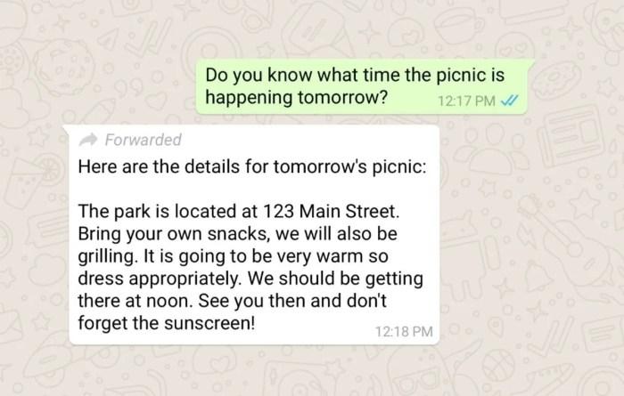 mensajes reenviados de WhatsApp