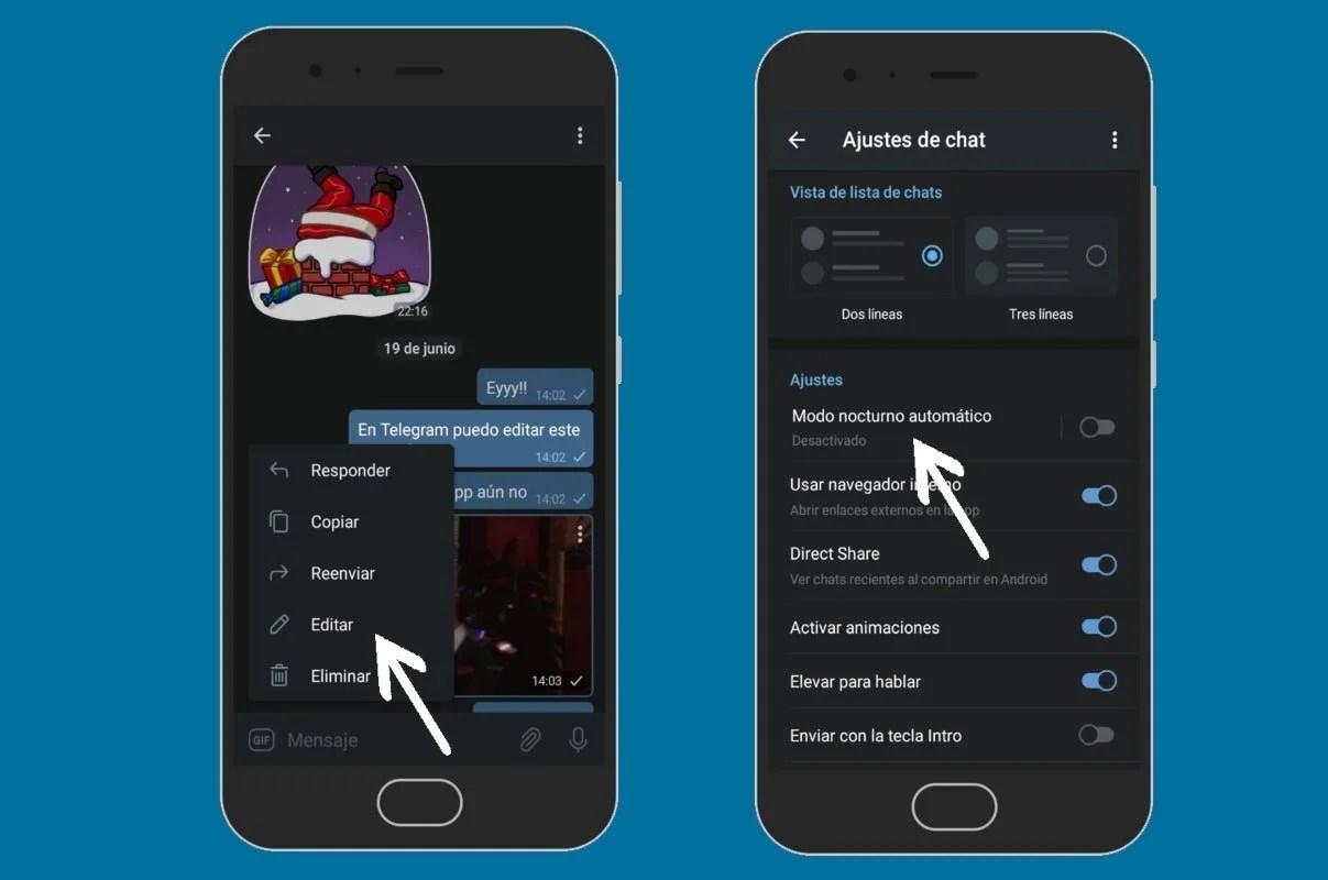 Funciones de Telegram que no están en WhatsApp