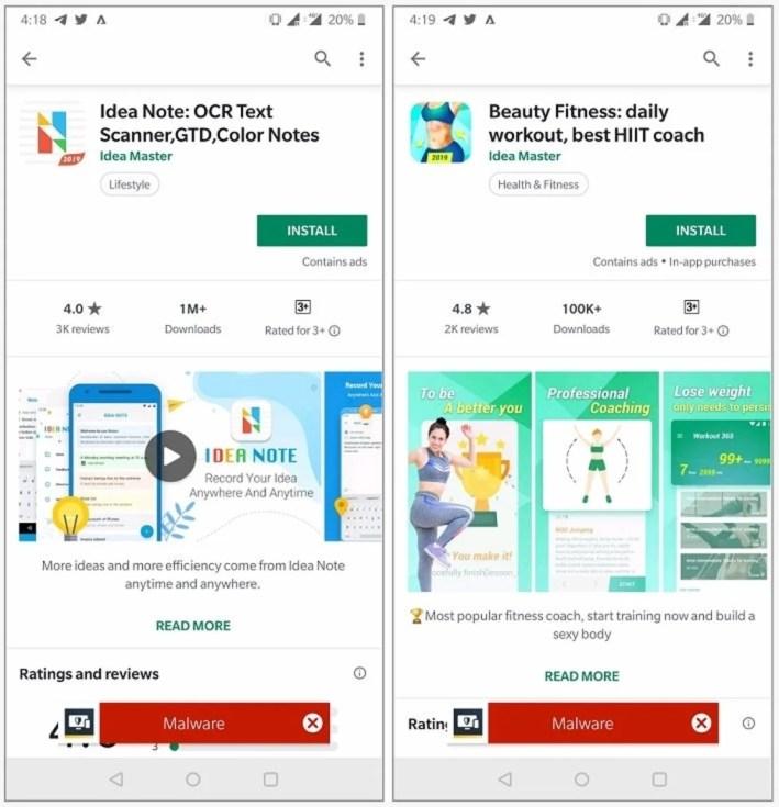 Apps con malware en GOogle Play Store