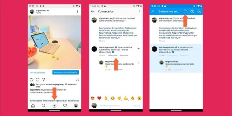 Proceso de borrado de comentarios en Instagram