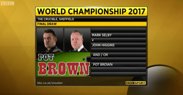 World Snooker 2017 Final Mark Selby vs John Higgins and or Pot Brown