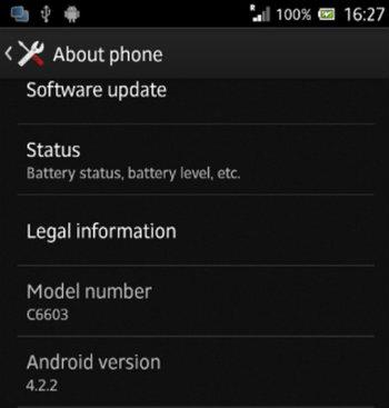 Versión Android® 4.2.2 en un Sony® Xperia Z