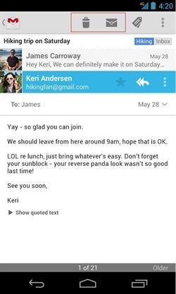 El boton suprimir vuelve de nuevo en Gmail
