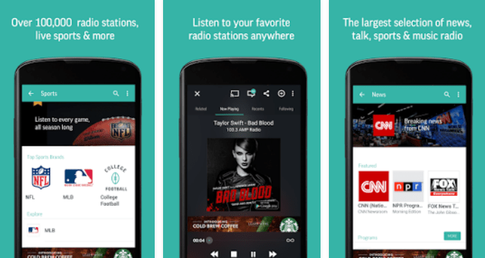 Best Free Music Apps for Android TuneIn Radio