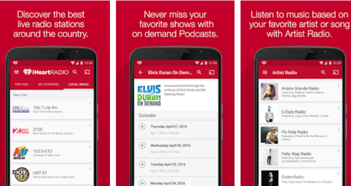 iHeartRadio Best Free Music Apps for Android