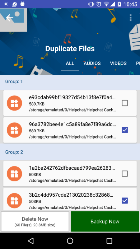 how to delete duplicate files in android