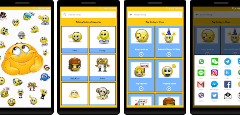 Talking Smileys and Emojis App Screenshot