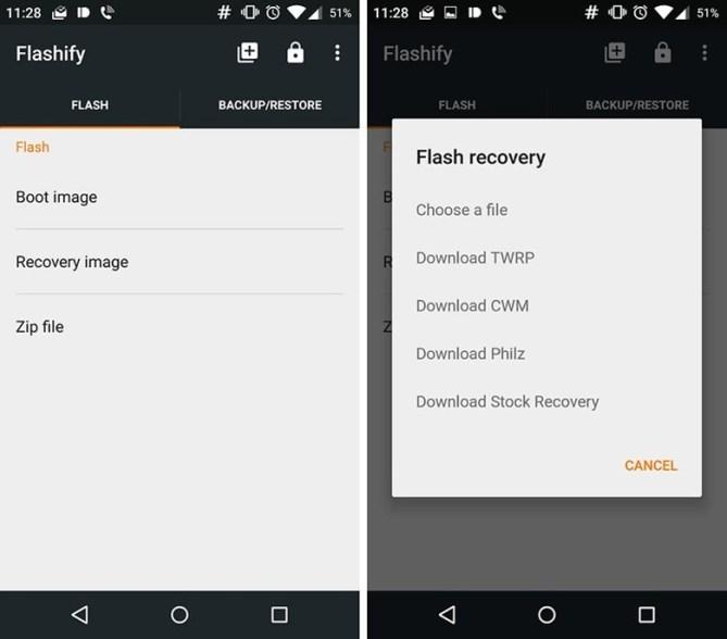 Flashify –наиболее универсальное приложение для прошивки вашего смартфона