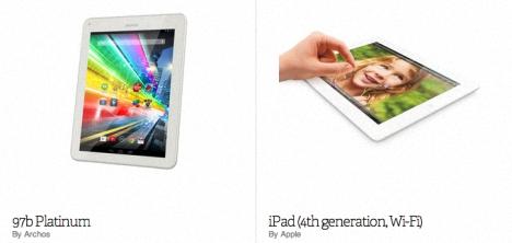 Archos Platinum 97b versus iPad