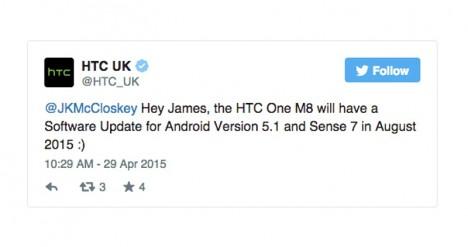 Twitter de confirmación de actualización a Android 5.1 para el HTC One M8