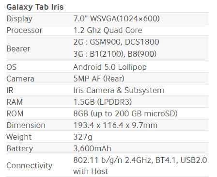 Especificaciones Samsung Galaxy Tab Iris