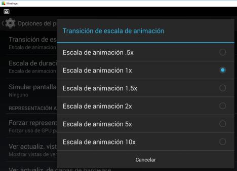 Opciones de Desarrollador - Mejorar la velocidad de animaciones en Android