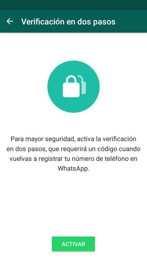 Verificacion 2 pasos WhatsApp