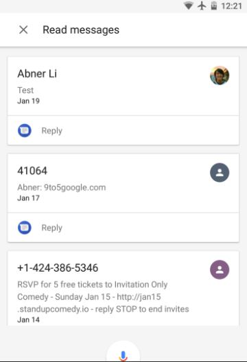 Asistente de Google mensajes SMS