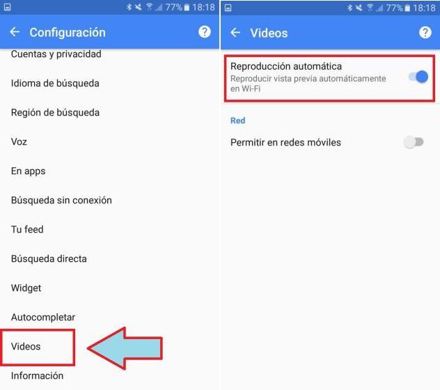 desactivar reproduccion automatica de videos en Busqueda de Google
