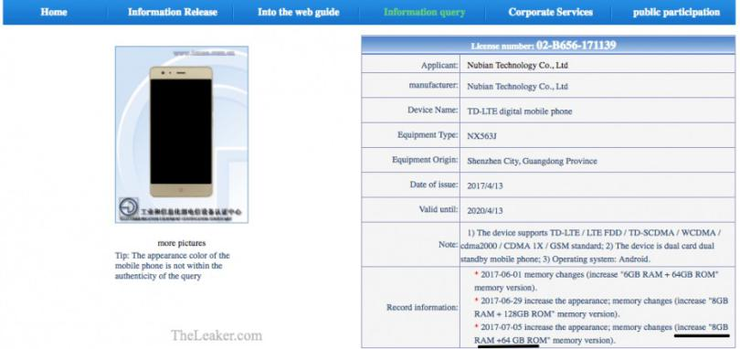 Nubia Z17 con 8 GB de RAM