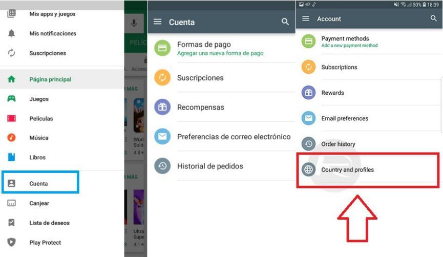 Google Play Store compras internacionales