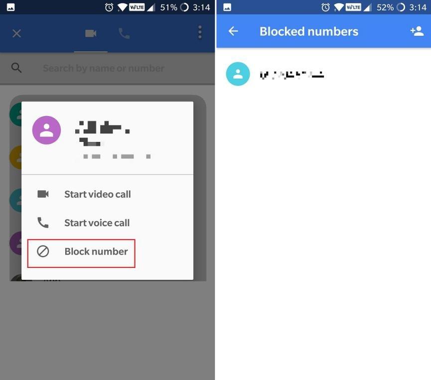 Google DUO Bloquear contactos