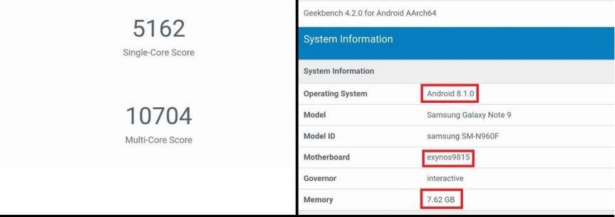 Samsung Galaxy Note 9 geekbench version europea
