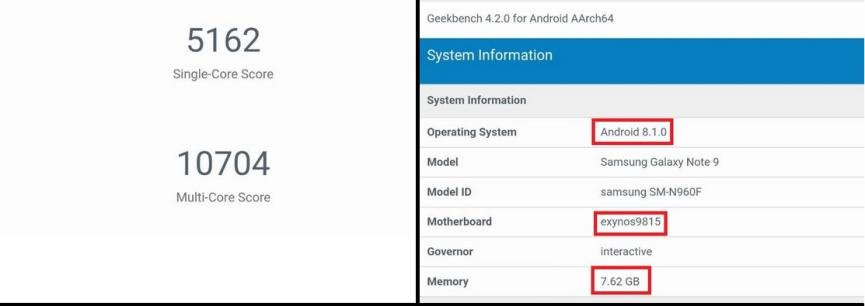 Samsung Galaxy Note 9 geekbench version europea