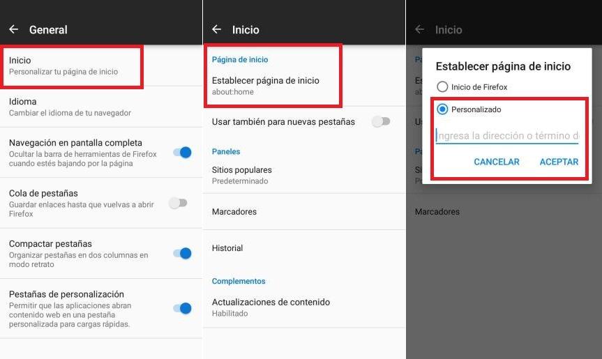 cambiar pagina de Inicio en Firefox Android