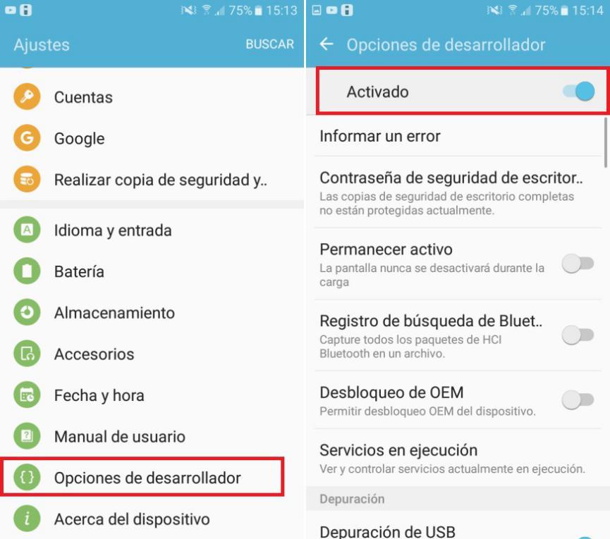 Desactivar Opciones de desarrollador en Android