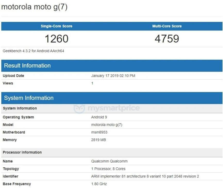 Motorola G7 especificaciones