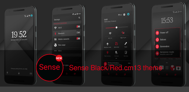 Sense Black Red cm13 theme