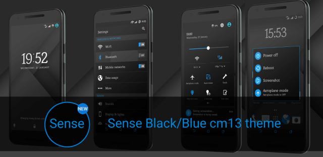 Sense Black Blue cm13 theme