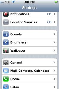 iPhone 5 Settings Screen