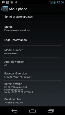 Android 4.3 for Sprint Samsung Galaxy Nexus