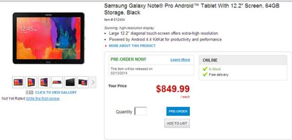 Samsung Galaxy Note Pro To Be Released on February 13th