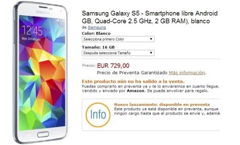 Galaxy S5 at Amazon Spain