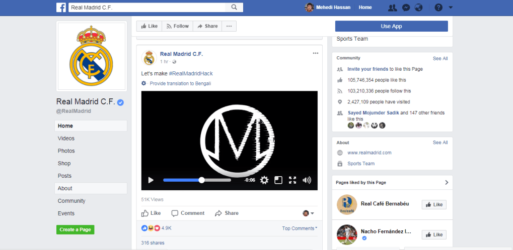 official facebook page of real madrid hacked video