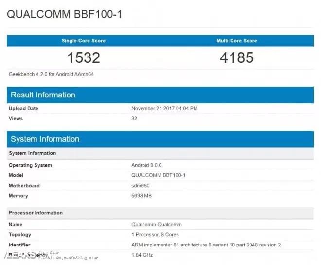 BlackBerry BFF100-1 aparece no Geekbench com Snapdragon 660 2