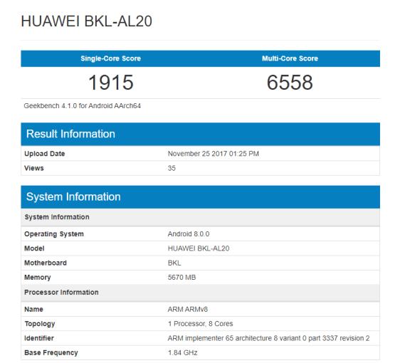 Honor V10 aparece no Geekbench como Huawei BKL-AL20 2
