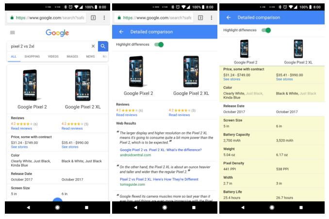 Novo recurso de Pesquisa do Google permite comparar as especificações de dispositivos 1