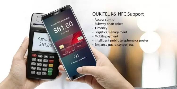 OUKITEL K6 detalhes da função NFC, o primeiro pré-lançamento global começará no Natal 1