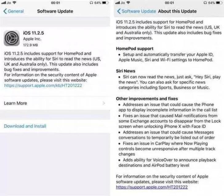 Apple lança iOS 11.2.5 com suporte HomePod 1