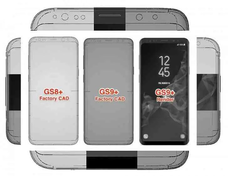 Esquemas CAD revelam as minúsculas alterações de design para o Galaxy S9 1