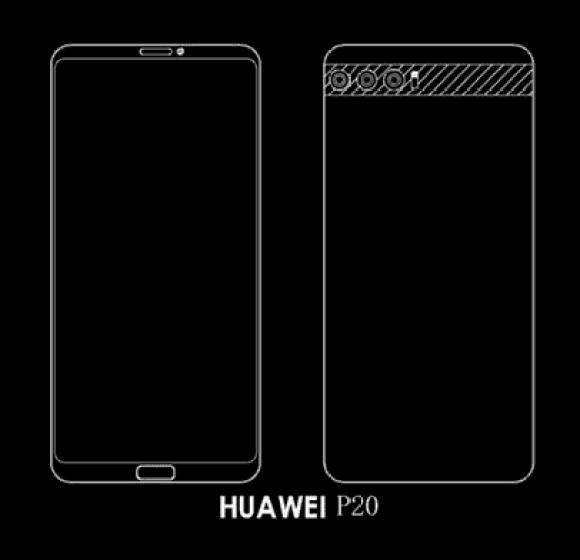 Huawei P20 os esquemas revelados mostram três modelos, um deles com um toque iPhone X 1