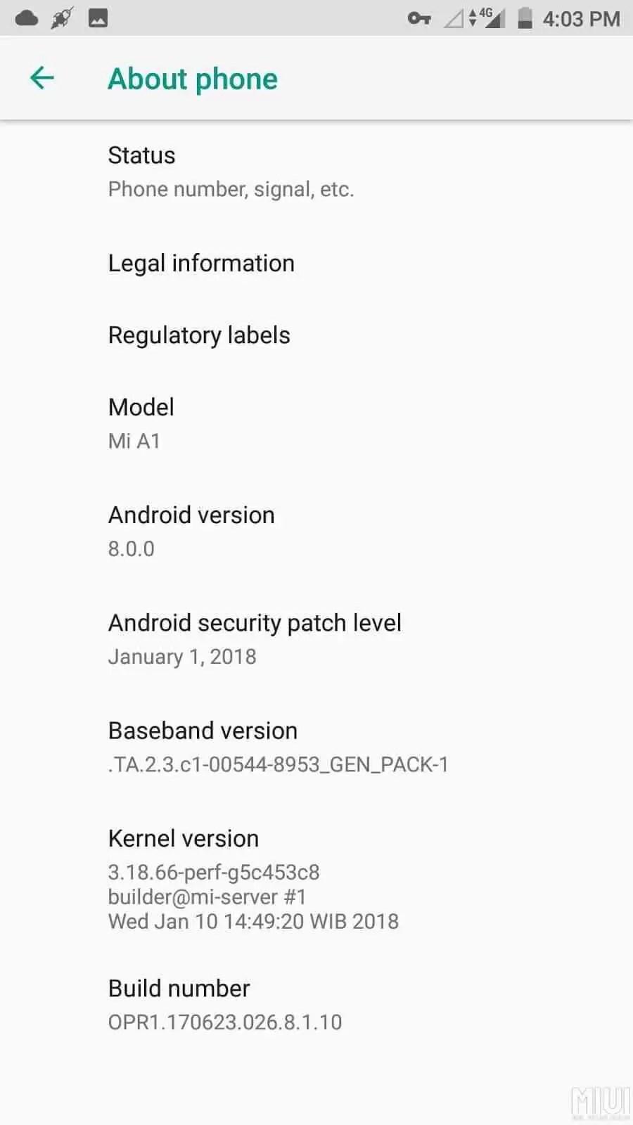 Xiaomi Mi A1 com novo update de firmware 2