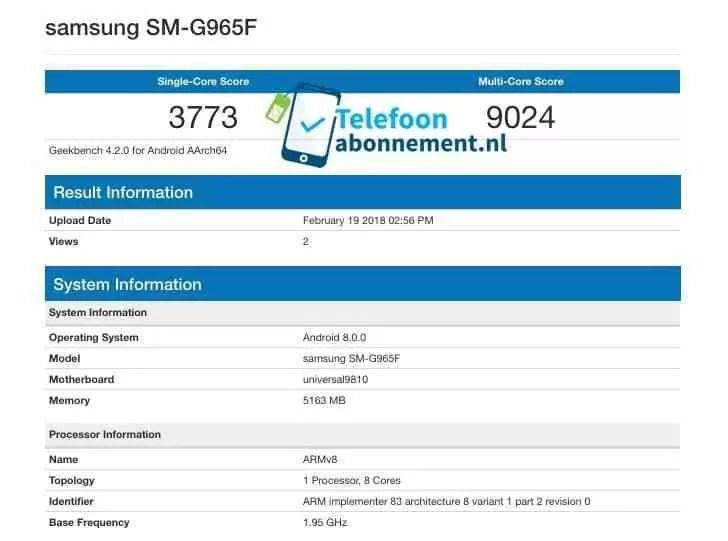 Samsung Galaxy S9 + no Geekbench com pontuações record 1