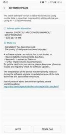 Samsung Galaxy S9 e S9+ Nova actualização a chegar G965FXXU1ARCC 1