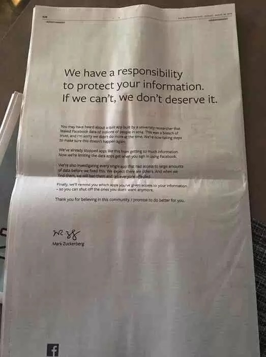 Zuckerberg pede desculpas pelo fracasso do Facebook em proteger os dados pessoais dos utilizadores 1