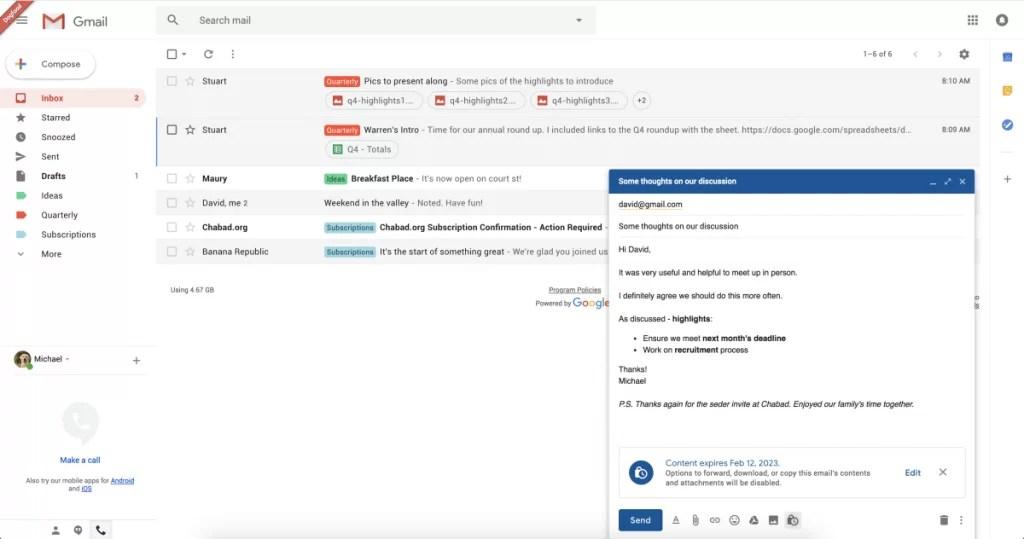 Gmail está a testar o envio de e-mails confidenciais com data de validade 1