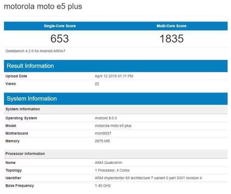 Moto E5 Plus em teste de benchmark com snapdragon 435 e Android Oreo 2