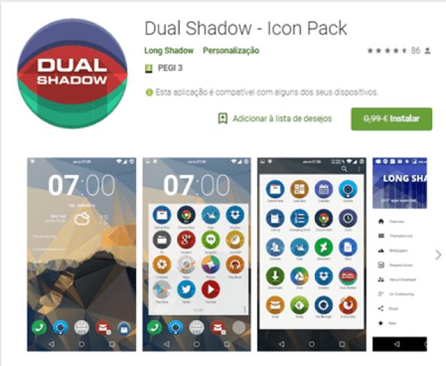 Dual Shadow - Icon Pack está GRÁTIS na Play Store 1