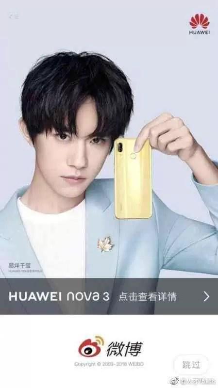 Huawei Nova 3 mostra-se em poster, lançamento em Julho 1