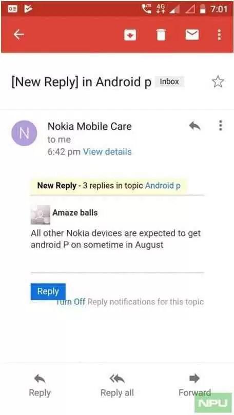 Nokia começará a lançar o Android P em Agosto 1
